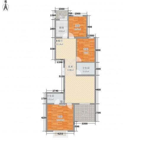 御龙庭3室1厅2卫1厨132.00㎡户型图