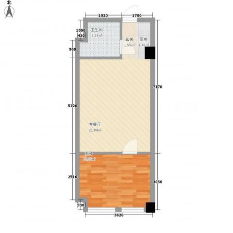 皇城壹�1室1厅1卫0厨57.00㎡户型图