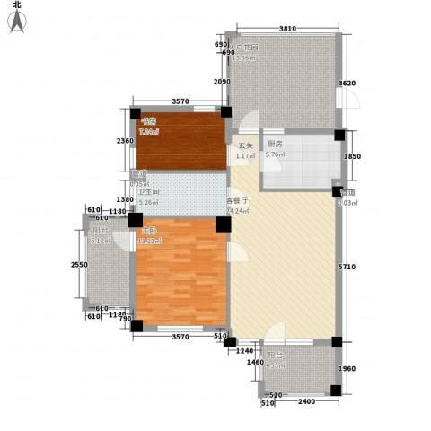 戴河庭院2室1厅1卫1厨79.22㎡户型图