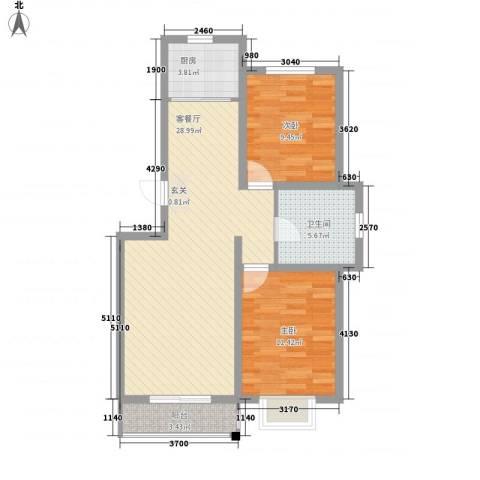 美地家园2室1厅1卫1厨90.00㎡户型图