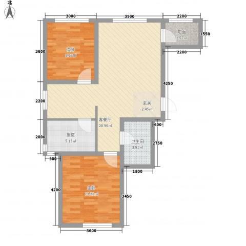 南岸名苑2室1厅1卫1厨63.15㎡户型图