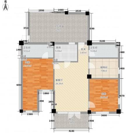 戴河庭院2室1厅2卫1厨121.00㎡户型图