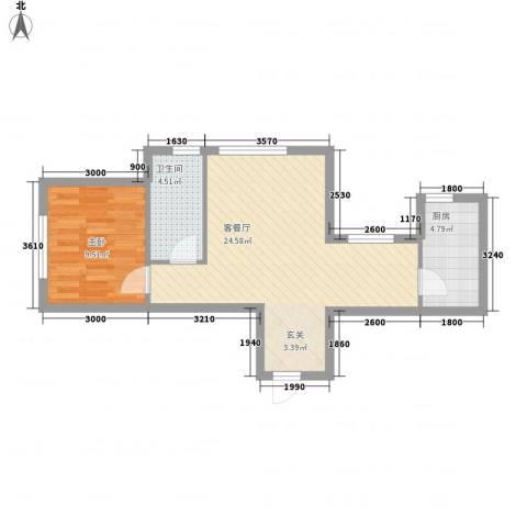 玉龙湾1室1厅1卫1厨64.00㎡户型图