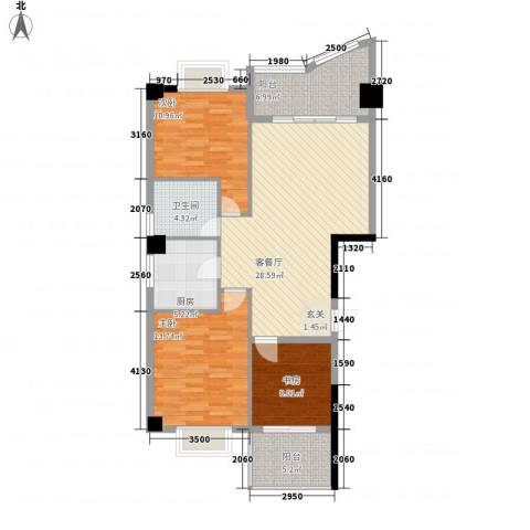 鼓浪湾3室1厅1卫1厨82.96㎡户型图