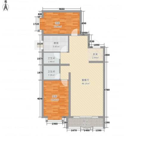 阳光明座2室1厅2卫1厨110.00㎡户型图