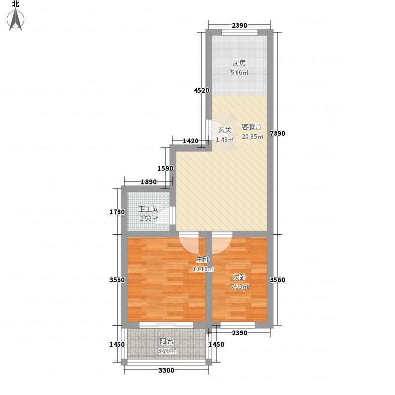 天润海韵豪庭65.00㎡户型2室1厅1卫1厨