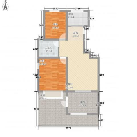 金色家园2室1厅1卫1厨97.00㎡户型图