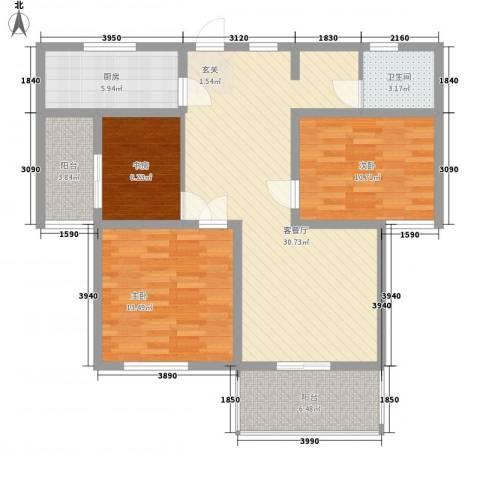 御水帝景城3室1厅1卫1厨116.00㎡户型图