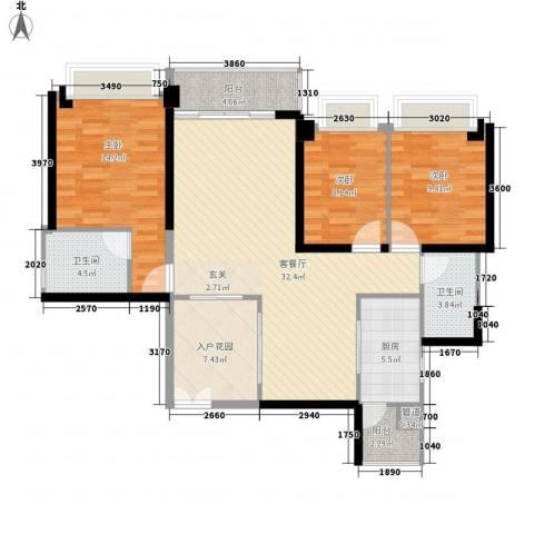 汇峰国际公寓3室1厅2卫1厨132.00㎡户型图