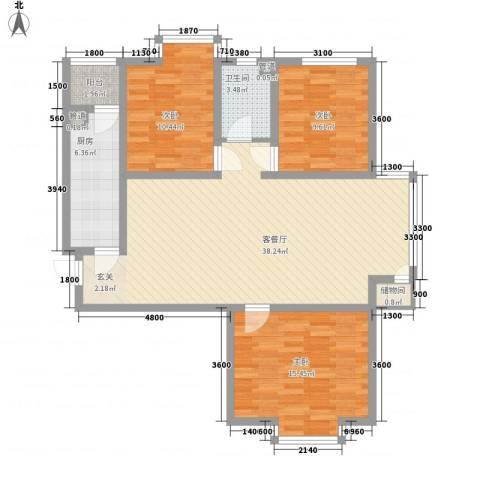 上林湾3室1厅1卫1厨119.00㎡户型图