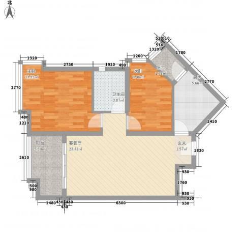 宝安江南城2室1厅1卫1厨89.00㎡户型图