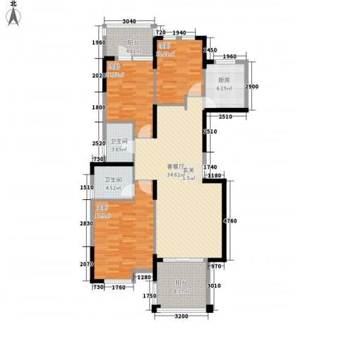 博林金谷四期3室1厅2卫1厨131.00㎡户型图