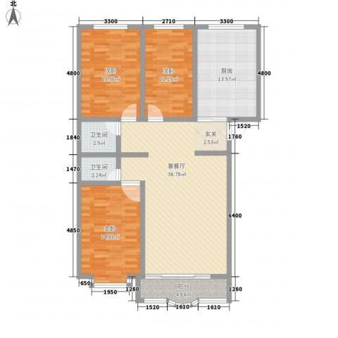 阳光明座3室1厅2卫1厨137.00㎡户型图