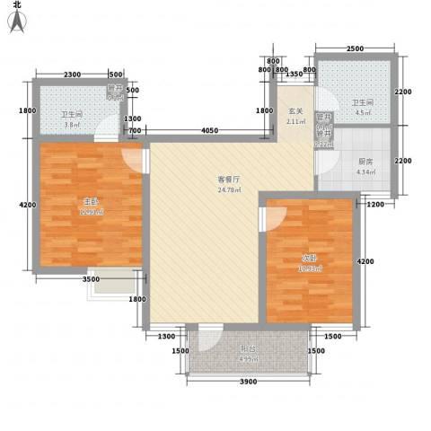 太白新苑2室1厅2卫1厨93.00㎡户型图