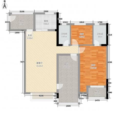嘉州新城莱茵水岸72室1厅2卫1厨129.00㎡户型图