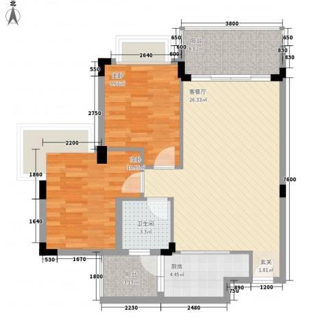 中惠郡庭2室1厅1卫1厨91.00㎡户型图