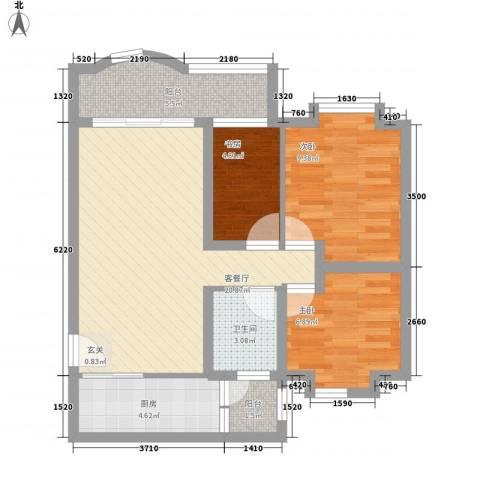 保利花园3室1厅1卫1厨81.00㎡户型图