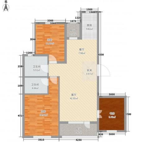 开成领地3室1厅2卫0厨117.00㎡户型图