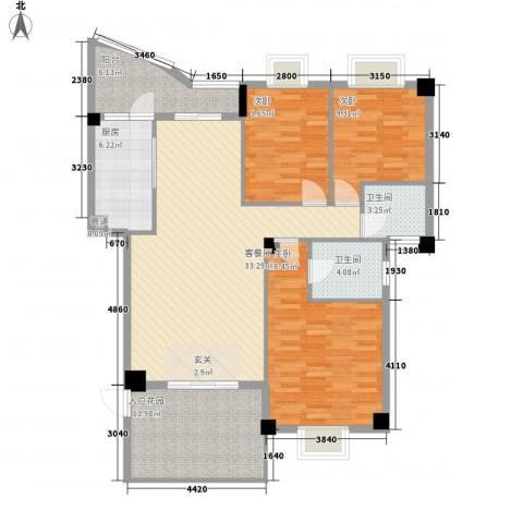 鼓浪湾3室1厅2卫1厨126.00㎡户型图