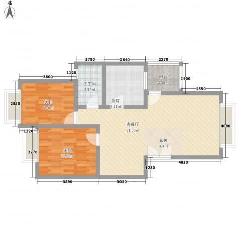 兴隆城市花园怡水园2室1厅1卫1厨85.00㎡户型图