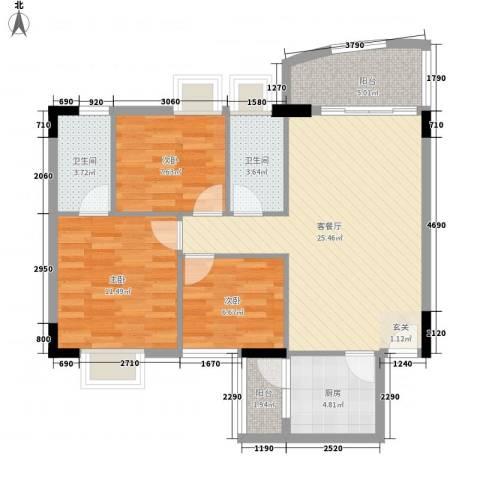 东田丽园3室1厅2卫1厨100.00㎡户型图