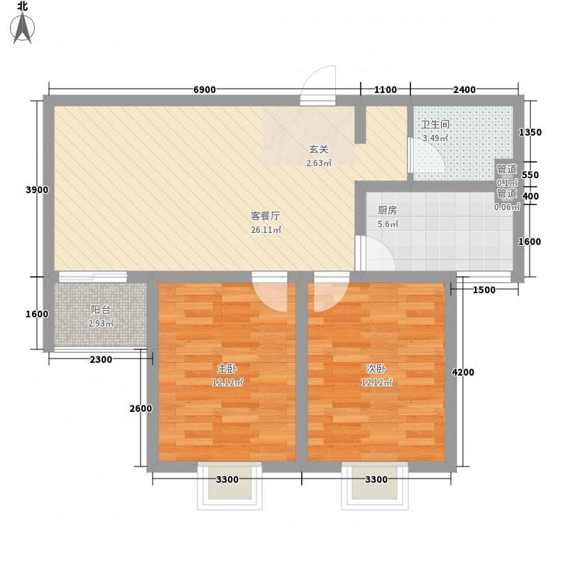 龙康・青年城91.15㎡龙康・青年城户型图户型(三)2室2厅1卫户型2室2厅1卫