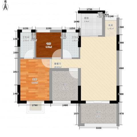 康美斯乐巢2室1厅2卫1厨72.00㎡户型图