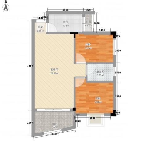 东田丽园2室1厅1卫1厨72.00㎡户型图