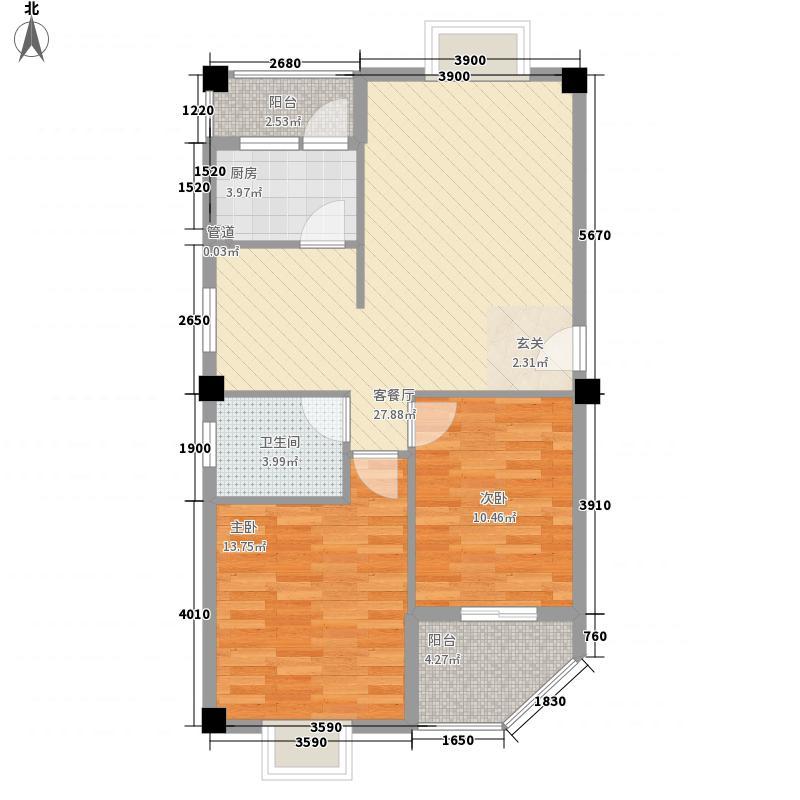 嘉和盛世名门户型图J 2室2厅1卫