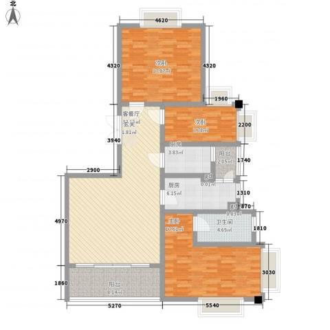 御沁园公寓3室1厅1卫2厨146.00㎡户型图