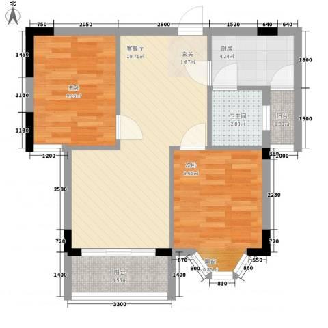 咏月苑2室1厅1卫1厨72.00㎡户型图