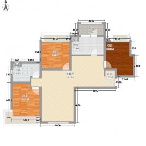 富力城3室1厅1卫1厨88.39㎡户型图
