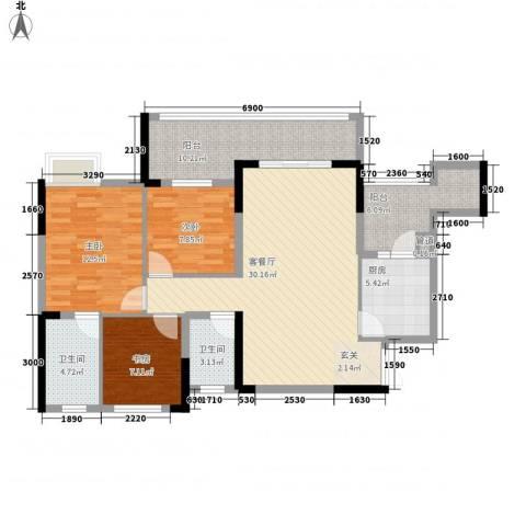 锦绣苑小区3室1厅2卫1厨125.00㎡户型图