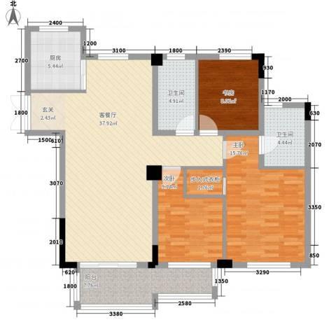 东方巴黎城3室1厅2卫1厨126.00㎡户型图