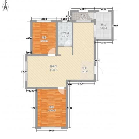 宝来雅居2室1厅1卫1厨109.00㎡户型图