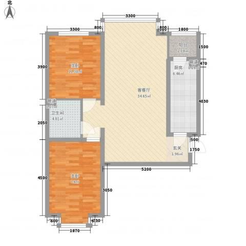 上林湾2室1厅1卫1厨100.00㎡户型图