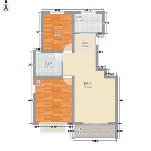 金色家园2室1厅1卫1厨92.00㎡户型图