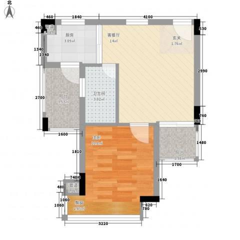中惠郡庭1室1厅1卫1厨54.00㎡户型图
