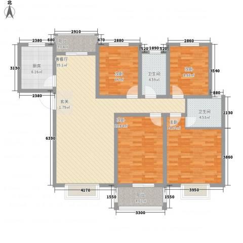 枫情佳苑4室1厅2卫1厨149.00㎡户型图