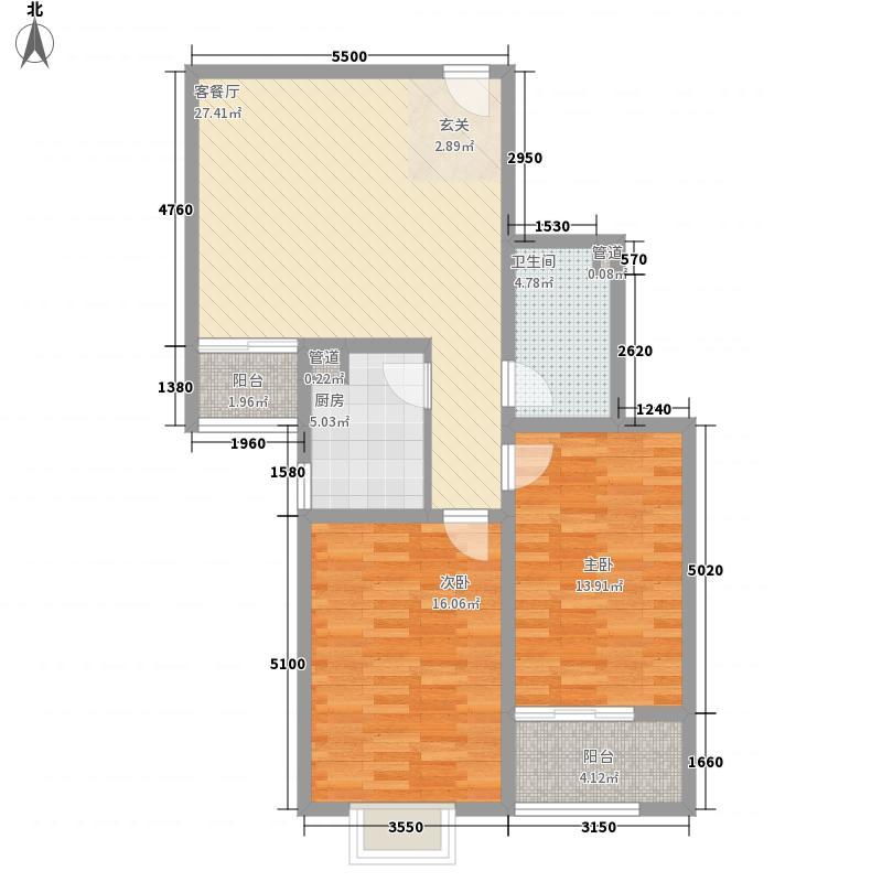 华天文苑15.82㎡1#7户型2室1厅1卫1厨