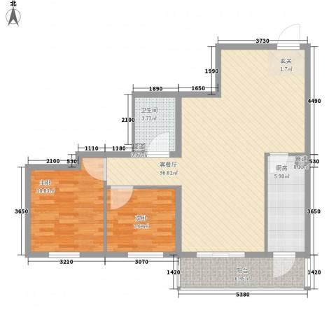 阳光新园2室1厅1卫1厨101.00㎡户型图