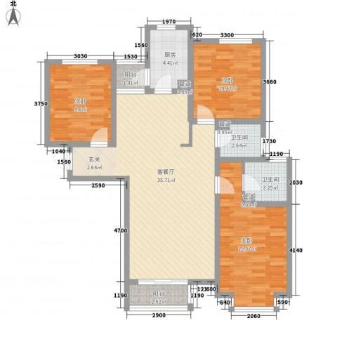 大有容园3室1厅2卫1厨128.00㎡户型图