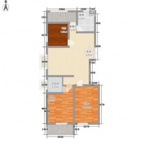 东方花园3室1厅1卫1厨124.00㎡户型图