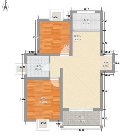 爱丽莎阳光名苑2室1厅1卫1厨85.00㎡户型图