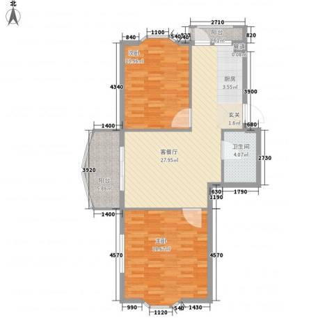 铭钻家园2室1厅1卫0厨72.20㎡户型图