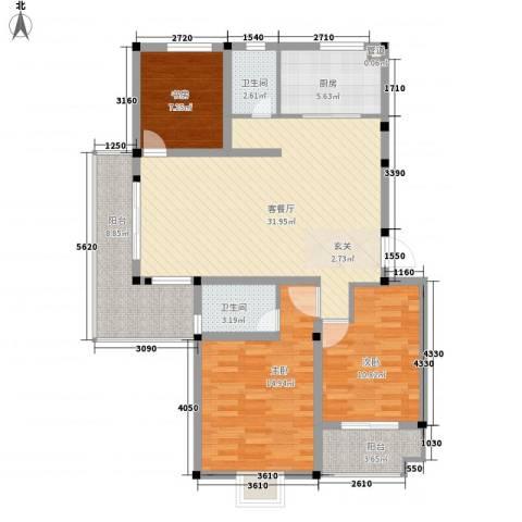 苹果园・幸福城3室1厅2卫1厨126.00㎡户型图