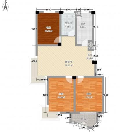 翡翠城3室1厅1卫1厨120.00㎡户型图