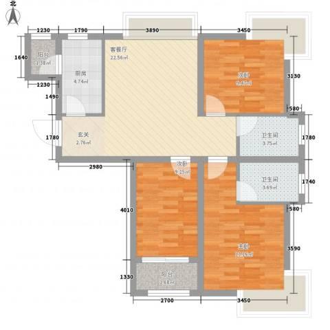 建达花园3室1厅2卫1厨102.00㎡户型图