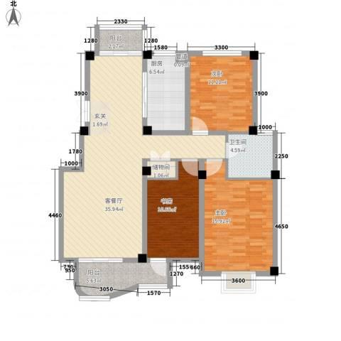 翡翠城3室1厅1卫1厨135.00㎡户型图