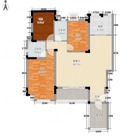 苹果园・幸福城3室1厅2卫1厨139.00㎡户型图